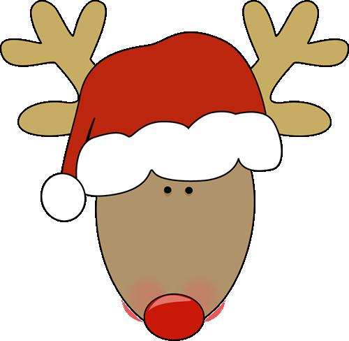 Reindeer hat clipart freeuse stock Reindeer wearing a santa hat. | Christmas Clip Art ... freeuse stock