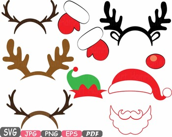 Reindeer hat clipart clip art black and white Christmas Props Party Booth clipart Santa Claus beard reindeer hat horns -5p clip art black and white