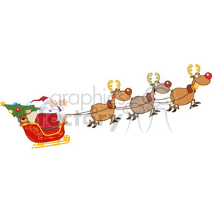 Reindeer pulling sleigh clipart royalty free stock 6686 Royalty Free Clip Art Santa Claus In Flight With His Reindeer And  Sleigh clipart. Royalty-free clipart # 389674 royalty free stock