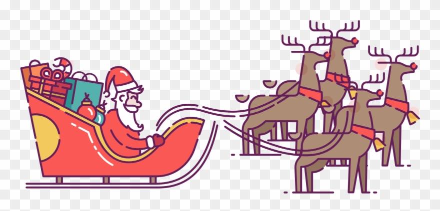 Reindeer pulling sleigh clipart banner royalty free Santa In Sleigh Pulled By Reindeer Clip Art - Reindeer - Png ... banner royalty free