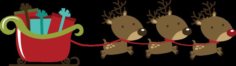 Reindeer pulling sleigh clipart vector royalty free stock Reindeer Pulling Sleigh SVG scrapbook file svg files for ... vector royalty free stock