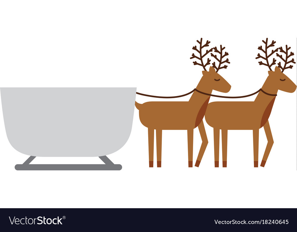 Reindeer pulling sleigh clipart image transparent library Reindeer pulling christmas sledge traditional vector image image transparent library