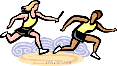 Relay racers passing the baton Royalty Free Vector Clip Art ... png free