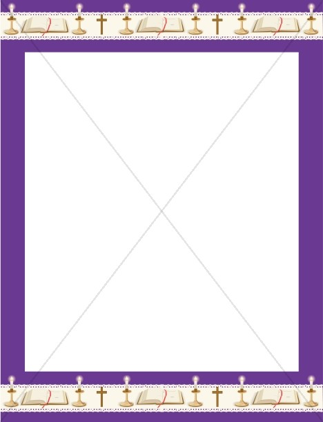 Religious clipart borders and frames image free download Purple Frame with Bibles, Crosses and Candles | Religious ... image free download