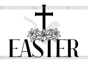 Religious easter clipart black and white happy easter png download Happy Easter concept . Cross and lilies - vector clip art png download