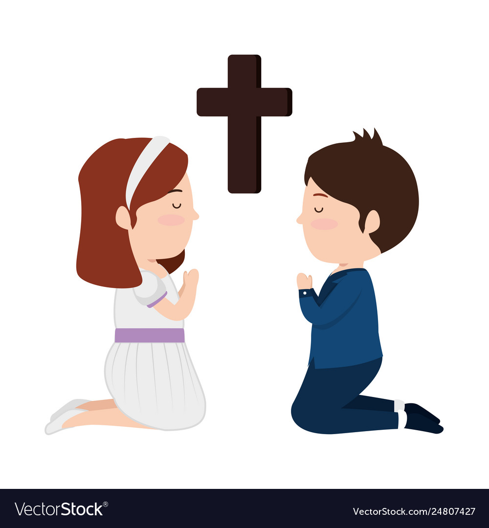 Religious images with a cross and children clipart graphic stock Little kids kneeling with cross first communion vector image graphic stock