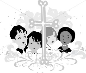Religious images with a cross and children clipart clip art black and white library Religious Wedding Children Clipart   Wedding Kids Clipart clip art black and white library