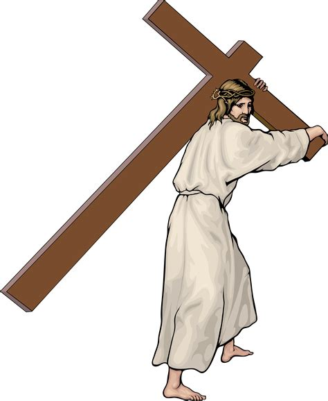 Religious images with a cross and children clipart