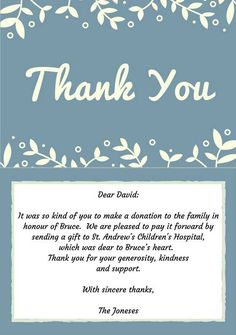 Religious thank you for memorial donation clipart picture transparent 131 Best Thank you Note Examples images in 2019 | Thank you ... picture transparent