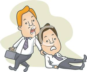 Reluctant clipart black and white download A Worker Dragging a Co Worker To the Office - Royalty Free ... black and white download