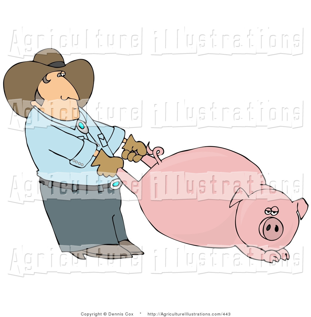 Reluctant clipart clip freeuse Agriculture Clipart of a Farmer Man Pulling a Reluctant Fat ... clip freeuse