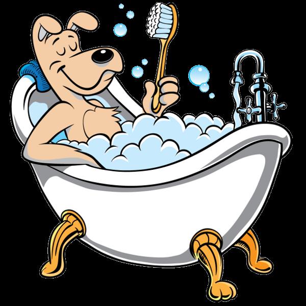 dog fun art   Funny Bath Cartoon Funny dog bath - cartoon ... graphic black and white stock