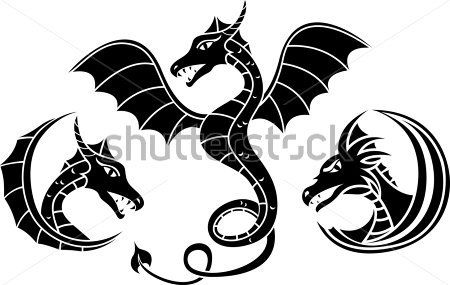Renaissance clipart dragons jpg freeuse download Dragon Set Stencil. Vector Illustration for Web clip arts ... jpg freeuse download