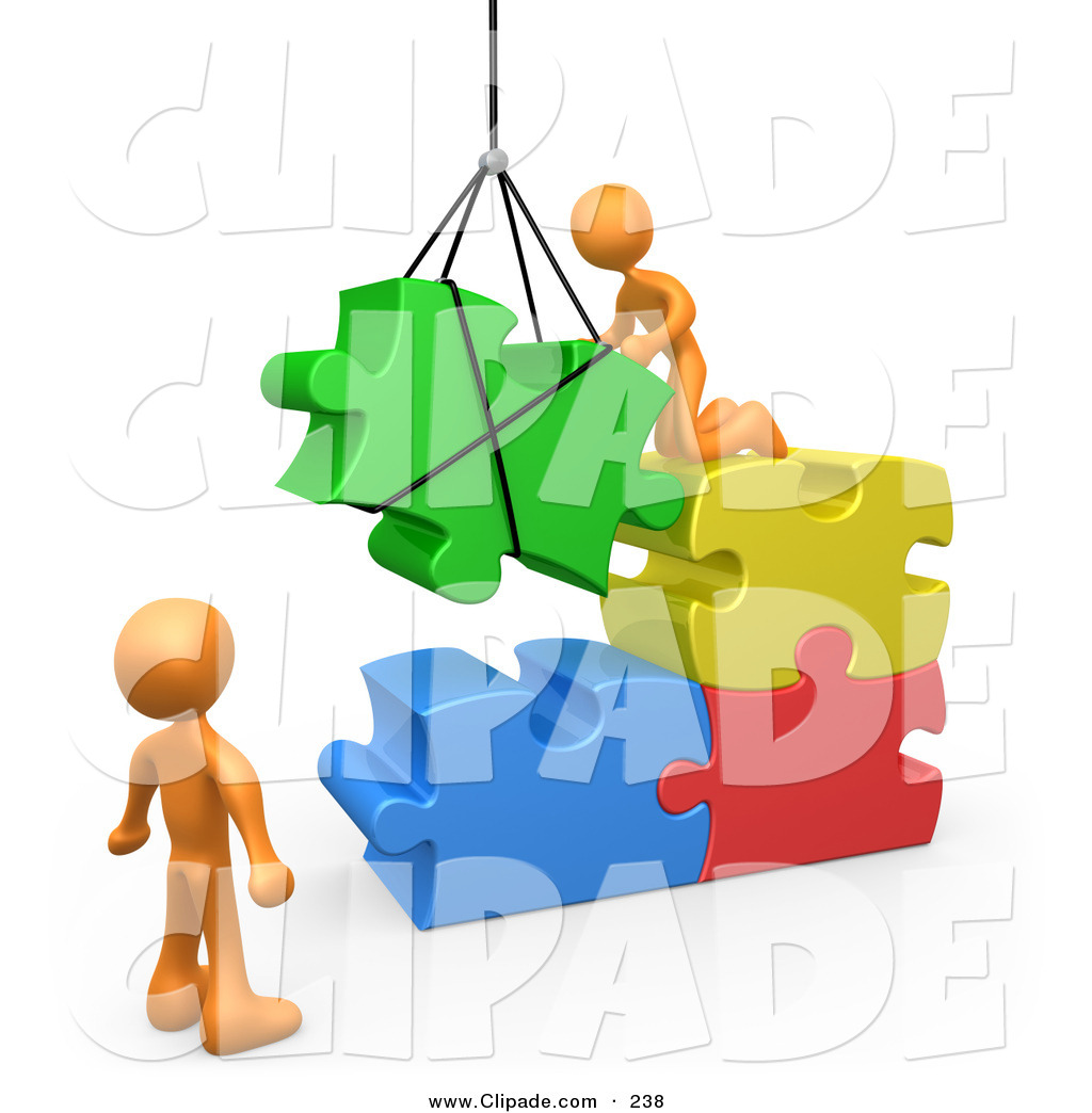 Rendered clipart banner freeuse library Clip Art of 3d Rendered Orange Men Directing a Hoisted ... banner freeuse library