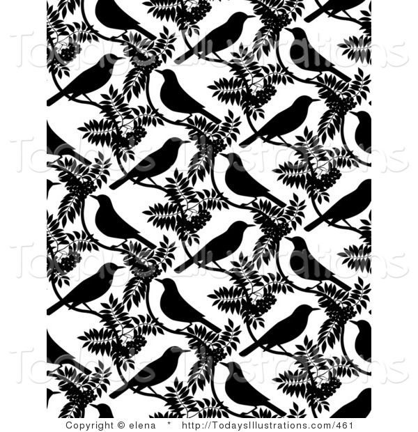 Repeating clipart clip transparent download Clipart of a Repeating Background of Black Birds and Leaves ... clip transparent download