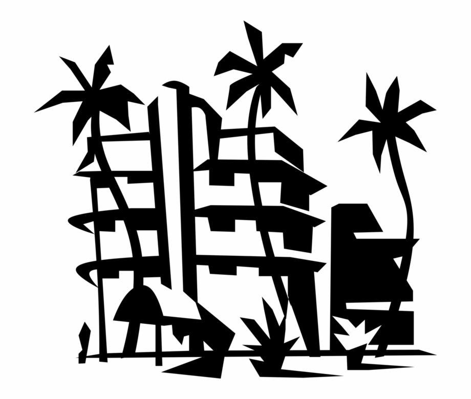 Resort clipart picture royalty free download Vector Illustration Of Miami Beach Resort Hotel With ... picture royalty free download