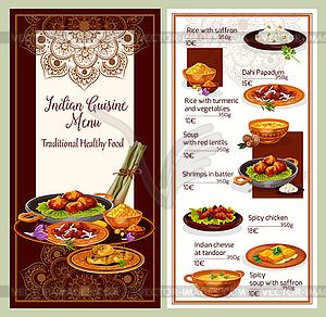 Restaurant menu design clipart jpg transparent download Indian cuisine restaurant menu template design - vector clipart jpg transparent download