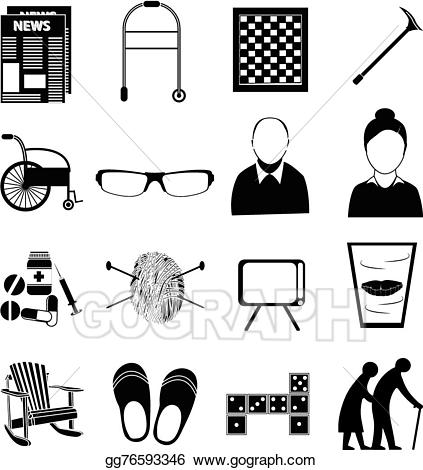Retired people clipart clipart black and white library Vector Illustration - Old age retired people icons set. EPS ... clipart black and white library