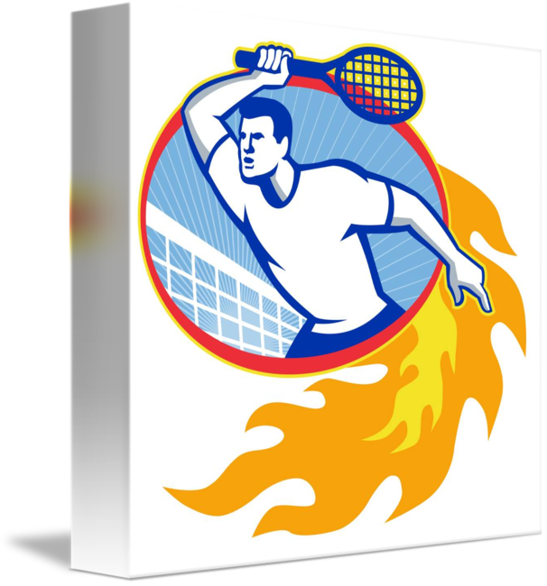 Retro basketball players clipart picture library stock Tennis Player Racquet Retro by Aloysius Patrimonio picture library stock