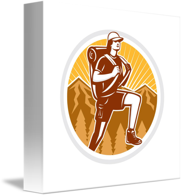 Retro basketball players clipart image stock Female Hiker Hiking Mountain Circle Retro by Aloysius Patrimonio image stock
