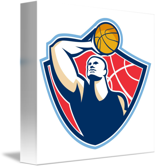 Retro basketball players clipart clip art royalty free Basketball Player Rebounding Ball Retro by Aloysius Patrimonio clip art royalty free