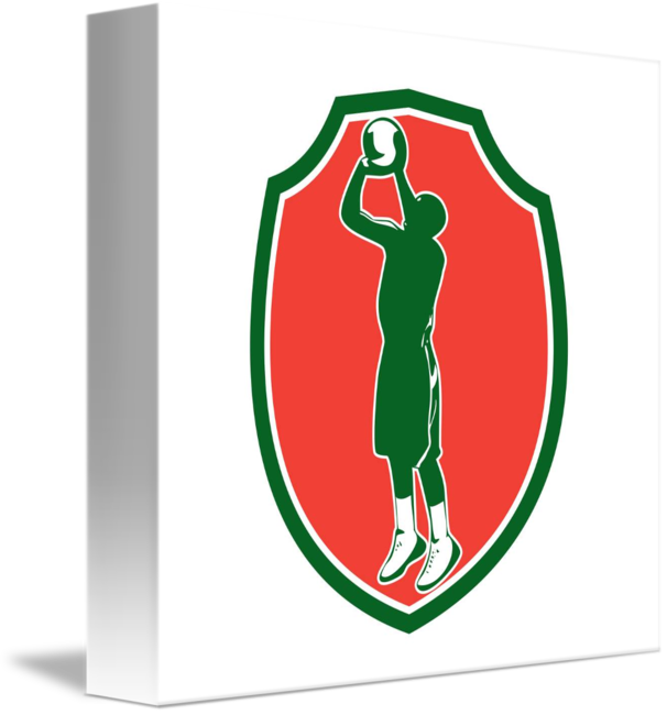 Retro basketball players shooting clipart picture transparent download Basketball Player Jump Shot Ball Shield Retro by Aloysius Patrimonio picture transparent download
