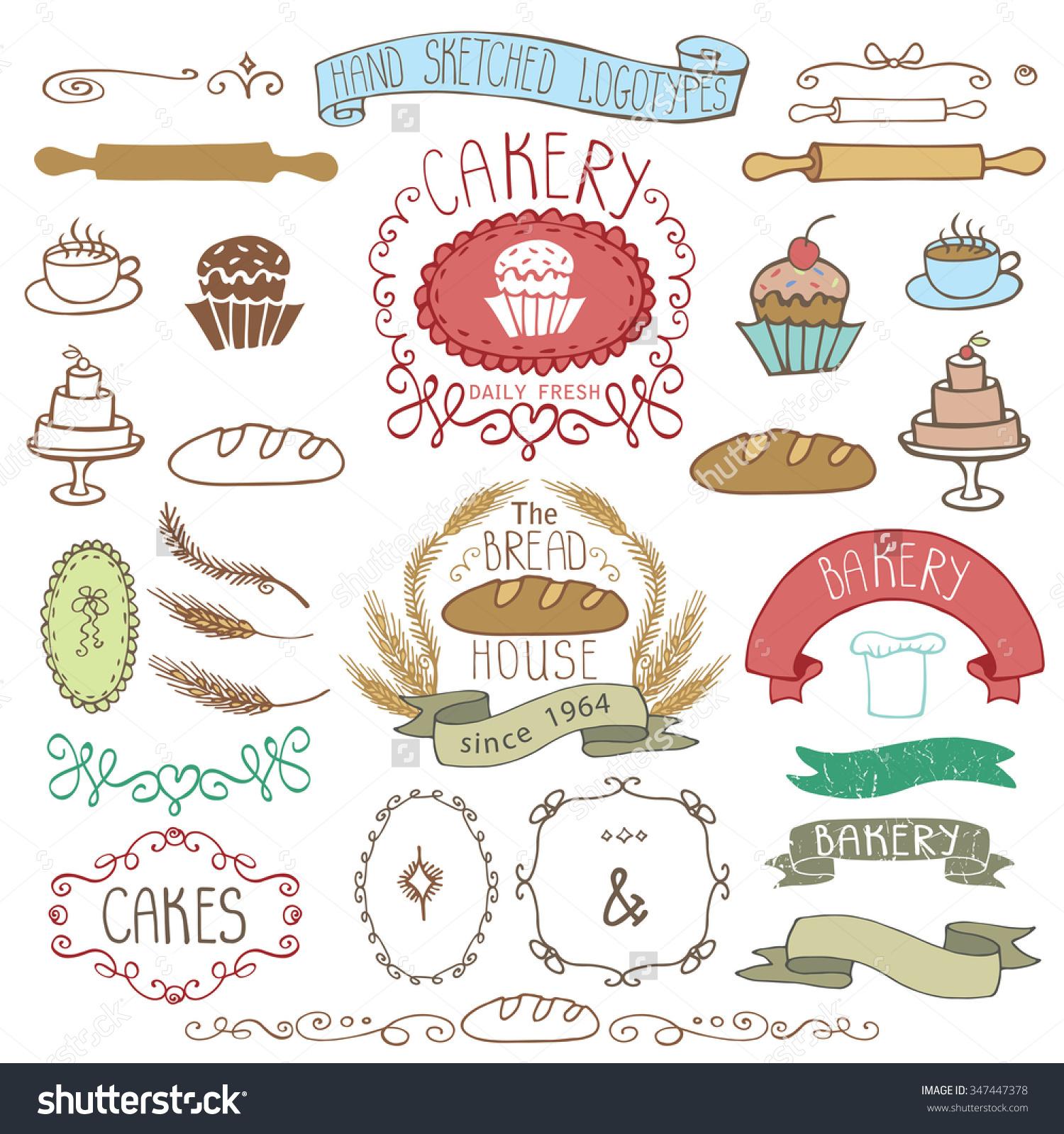 Retro clip art creator free Vintage Retro Bakery Badgeslabelslogoscolored Hand Sketched Stock ... free