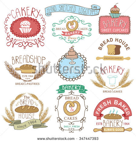 Retro clip art creator clipart free stock Vintage Retro Bakery Badges,Labels,Logos.Colored Hand Sketched ... clipart free stock
