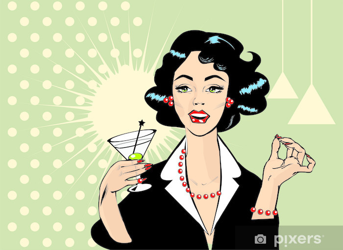 Retro clipart woman clipart download Woman drinking martini or cocktail retro vintage clipart Sticker -  Pixerstick clipart download