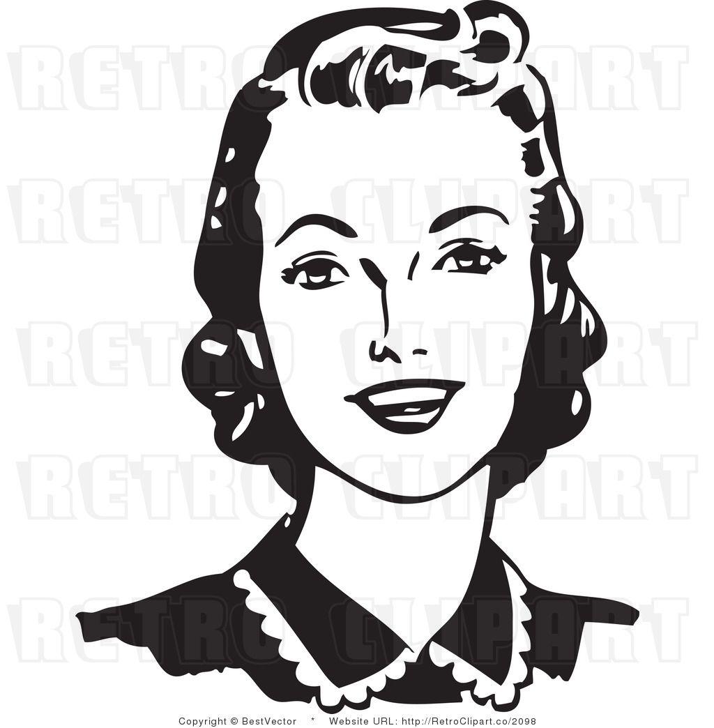 Retro clipart woman clipart black and white Retro Woman Face Clipart | CRICUT & SILHOUETTE | Retro ... clipart black and white