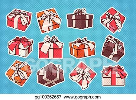 Retro gift box clipart clip freeuse stock EPS Illustration - Set of colorful gift box pop art retro ... clip freeuse stock