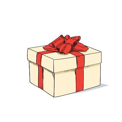 Retro gift box clipart clip art transparent stock Red Gift Box Present Sketch Retro Vector premium clipart ... clip art transparent stock