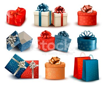 Retro gift box clipart jpg royalty free download Set of Colorful Retro Gift Boxes With Bows premium clipart ... jpg royalty free download