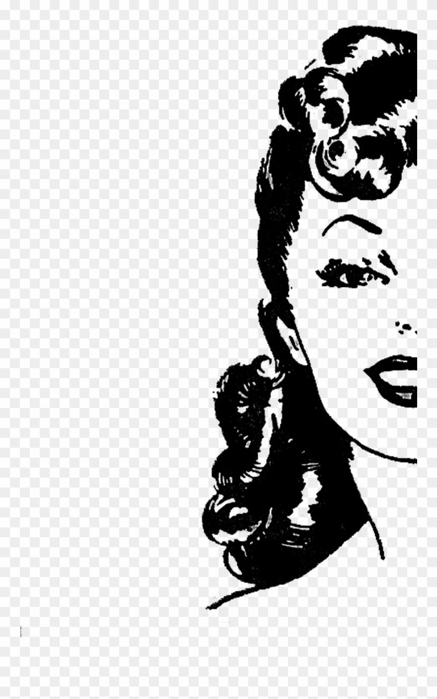 Retro lady clipart picture black and white library Merchandising Support - Retro Lady Clip Art Free - Png ... picture black and white library