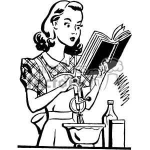 Retro lady clipart image royalty free vintage women cooking from a cookbook vector vintage 1900 vector art GF  clipart. Royalty-free clipart # 402521 image royalty free