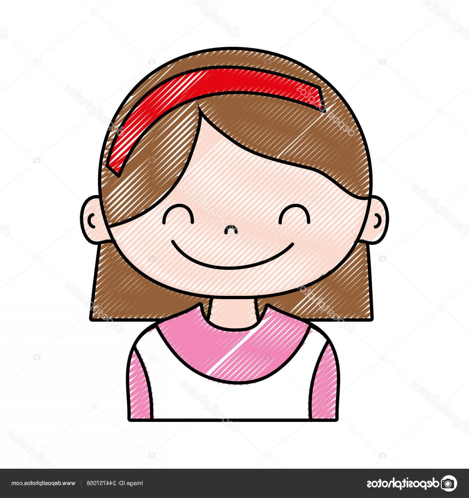 Retro little girl orange jumper & pink headband clipart cartoon