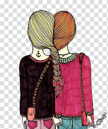 Retro little girl orange jumper & pink headband clipart cartoon image transparent library Munequitas Vintage, two woman wearing pink and black dress ... image transparent library