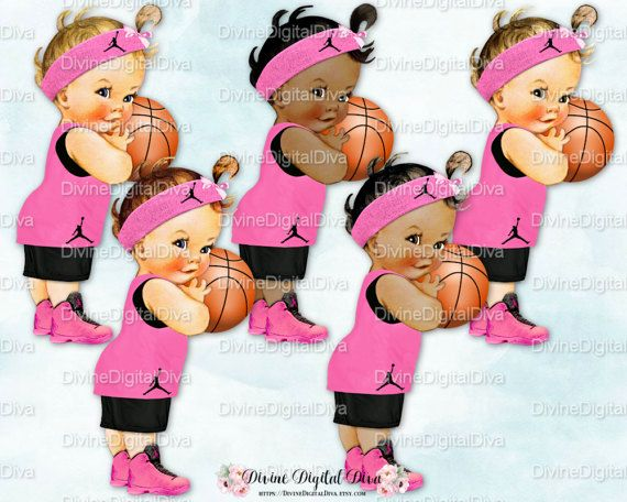 Retro little girl pink hat with flowers clipart cartoon free download Vintage Baby Girl Basketball Player | Black & Pink Hightop ... free download