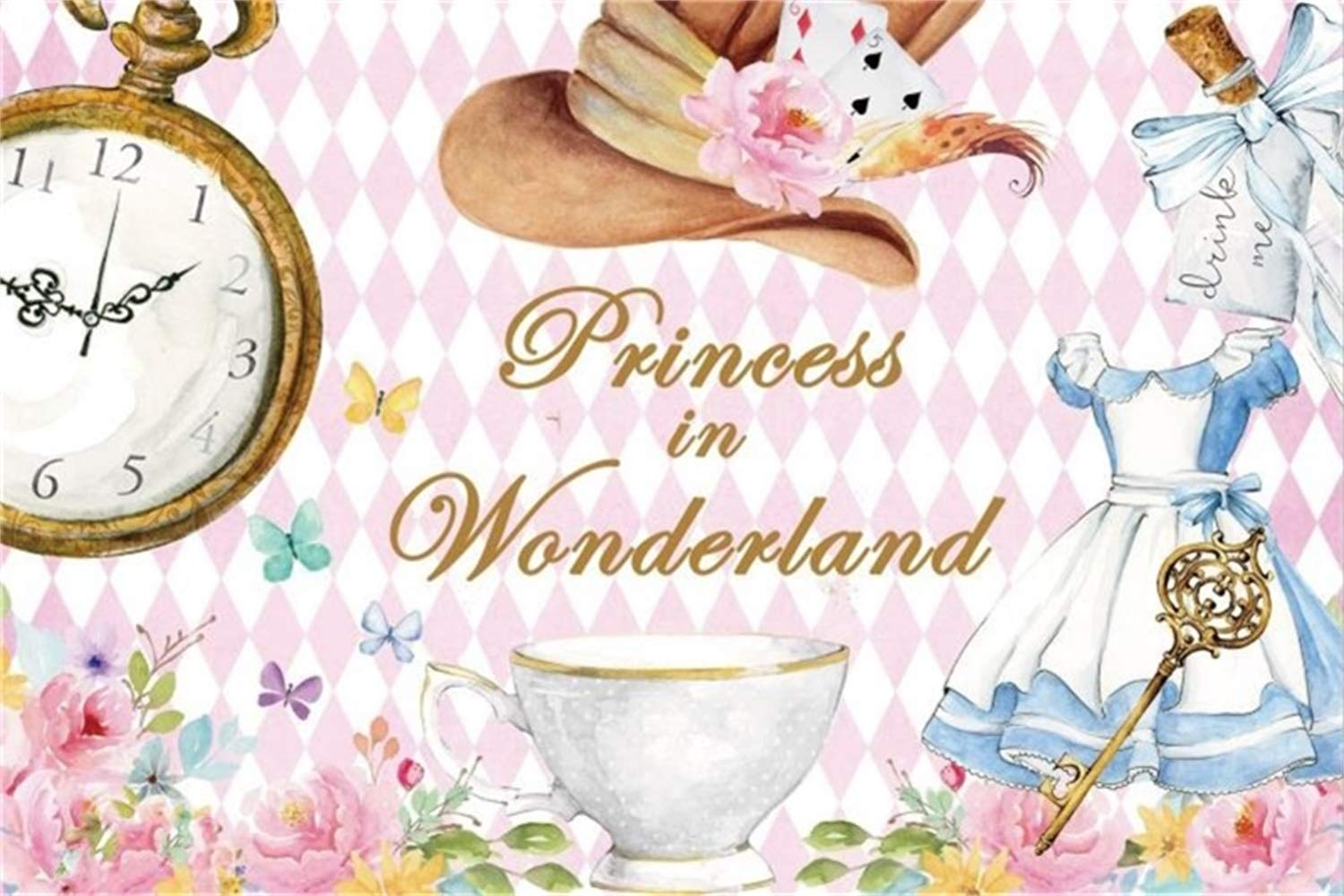 Retro little girl pink hat with flowers clipart cartoon png freeuse stock Laeacco 10x6.5ft Cartoon Princess In Wonderland Vinyl Photography  Background Beautiful Hat Vintage Pocket Watch Dress Cafe Cup Pink Geometric  Pattern ... png freeuse stock