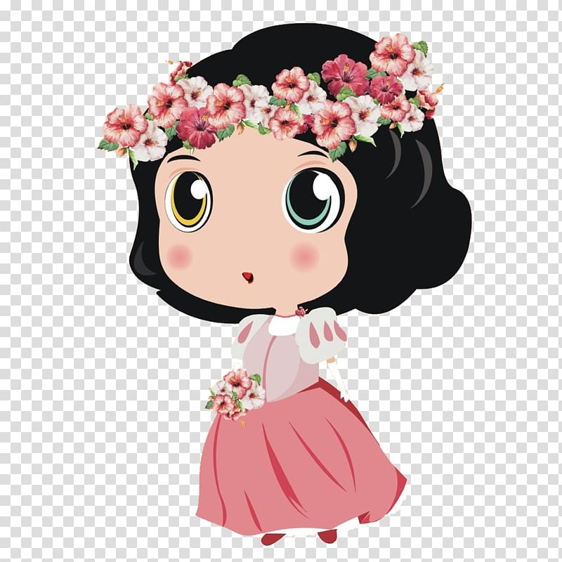 Retro little girl pink hat with flowers clipart cartoon clip free download Cartoon Flower Fairies Illustration, Lovely illustration ... clip free download