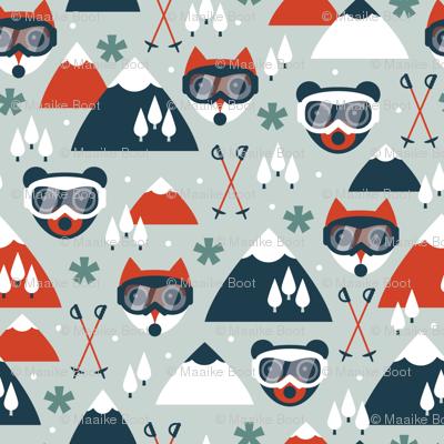 Retro ski goggles clipart png black and white library Retro ski fox and grizzly bear goggles winter woodland ... png black and white library