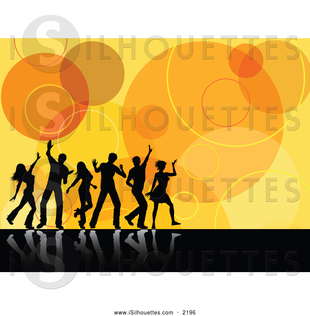 Retro spin phone clipart black and white svg library stock Silhouette Clipart of Black Silhouetted Dancers Reflecting ... svg library stock