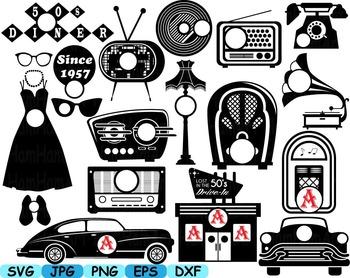 Retro vintage 50s sign clipart png jpg library Black Circle Monogram 50\'s Retro Vintage radio music sport car clip art svg  119S jpg library