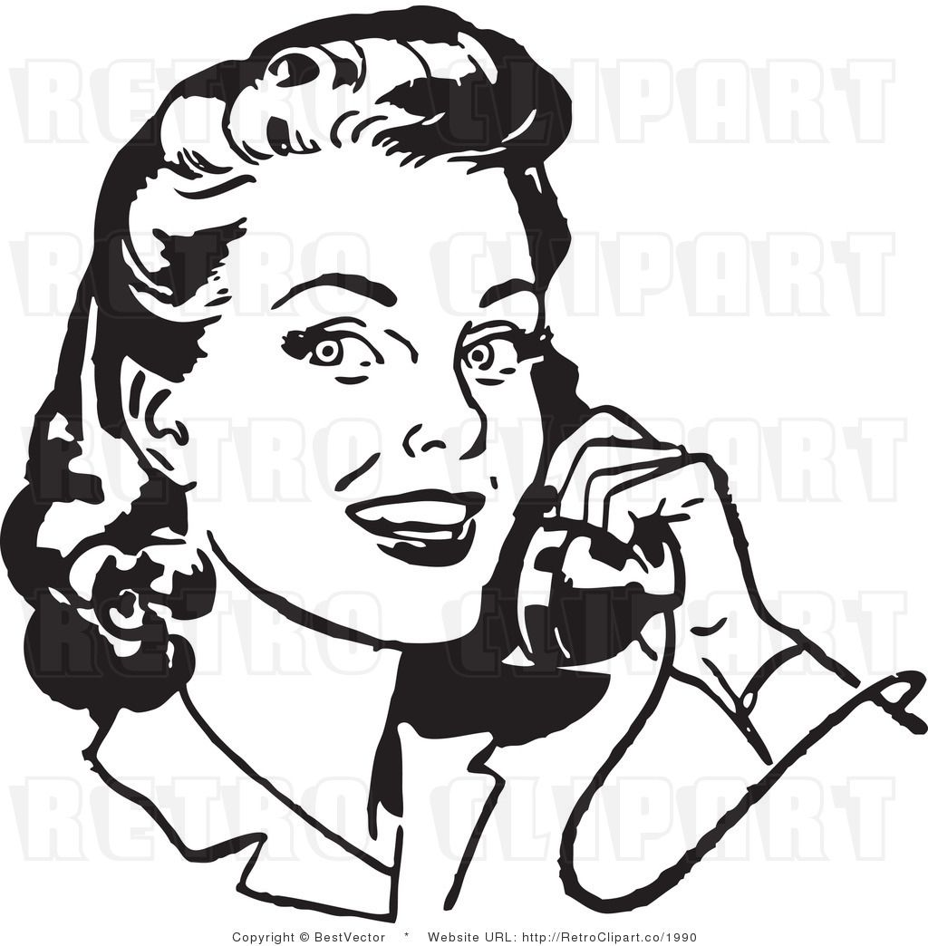 Retro woman clipart free picture transparent library Royalty Free Black And White Retro Vector Clip Art Of A ... picture transparent library