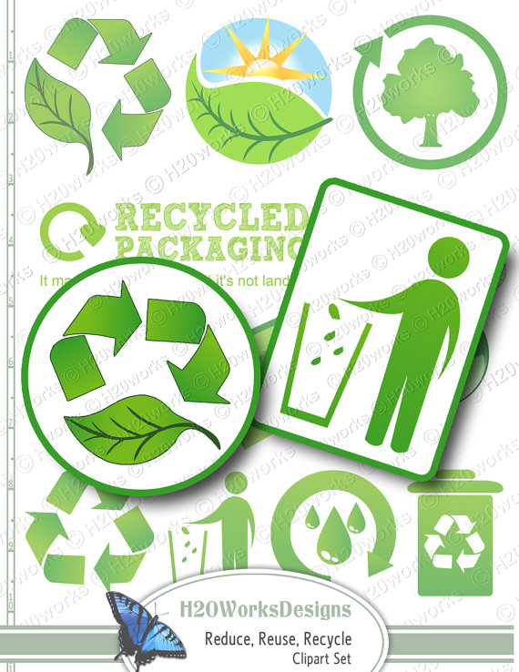 Reusing an idea clipart jpg transparent stock Green Reduce Reuse Recycle Clip Art Set by H20worksDesigns ... jpg transparent stock
