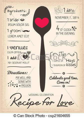 Rezepte bilder clipart banner free download Clipart Vector of Recipe for Love creative Wedding Invitation ... banner free download