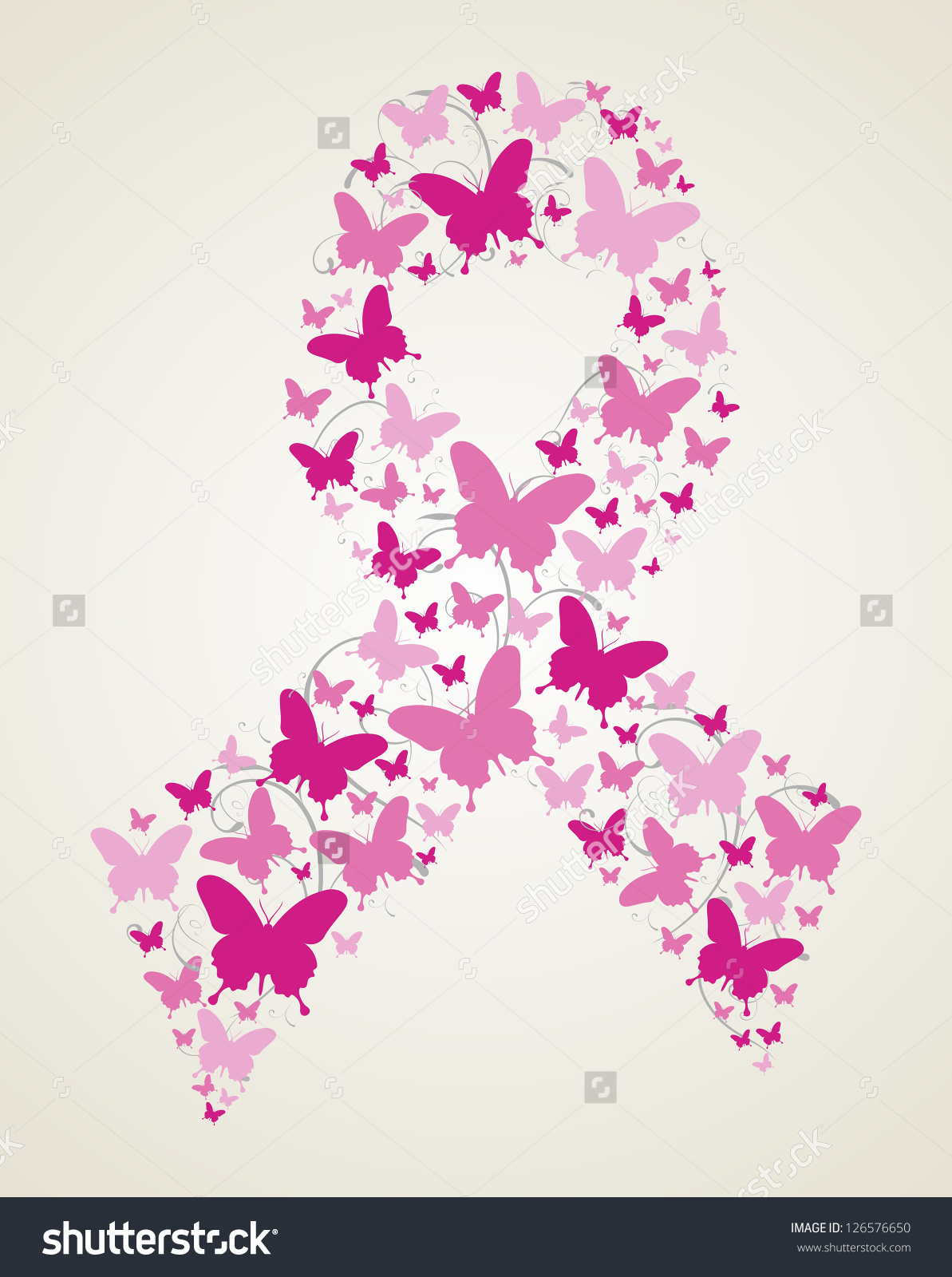 Ribbon butterfly clipart clipart stock Pink Butterflies Breast Cancer Awareness Ribbon Stock Illustration ... clipart stock