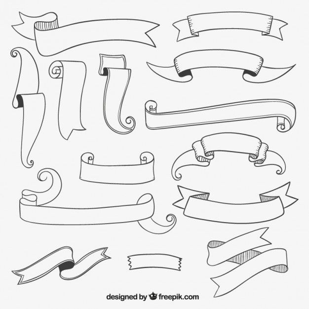 Ribbon clipart black and white upper and lower clipart black and white stock Sketchy ribbon banners collection Free Vector | Anime ... clipart black and white stock