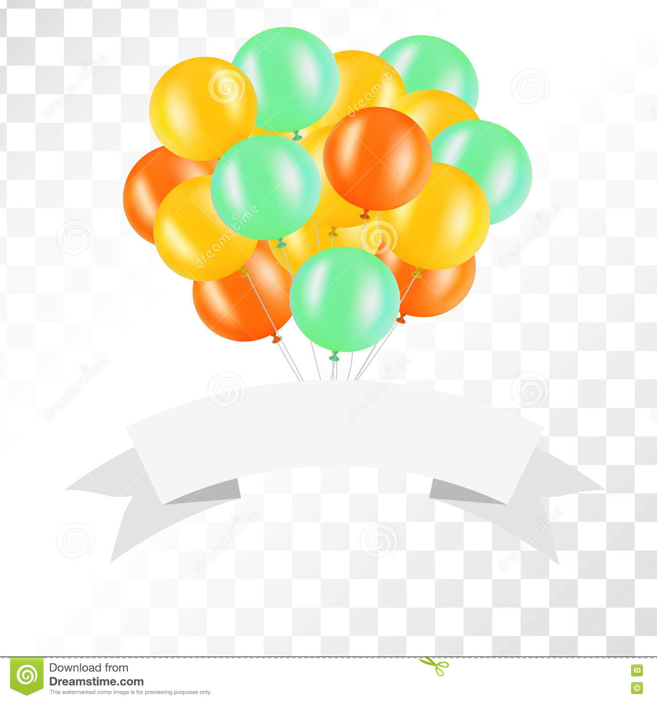 Ribbon transparent background clipart image free stock White Ribbon With Balloons On Transparent Background. Vector ... image free stock