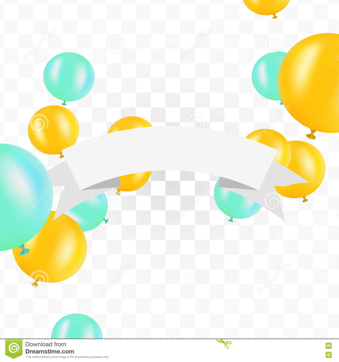 Ribbon transparent background clipart clipart transparent download White Ribbon With Balloons On Transparent Background. Vector ... clipart transparent download